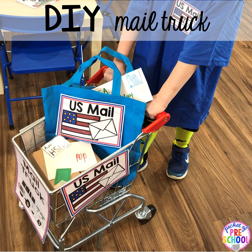 DIY mail truck for a post office! How to set up a Post Office in the dramatic play or pretend center. Perfect for a preschool, pre-k, or kindergarten classroom.