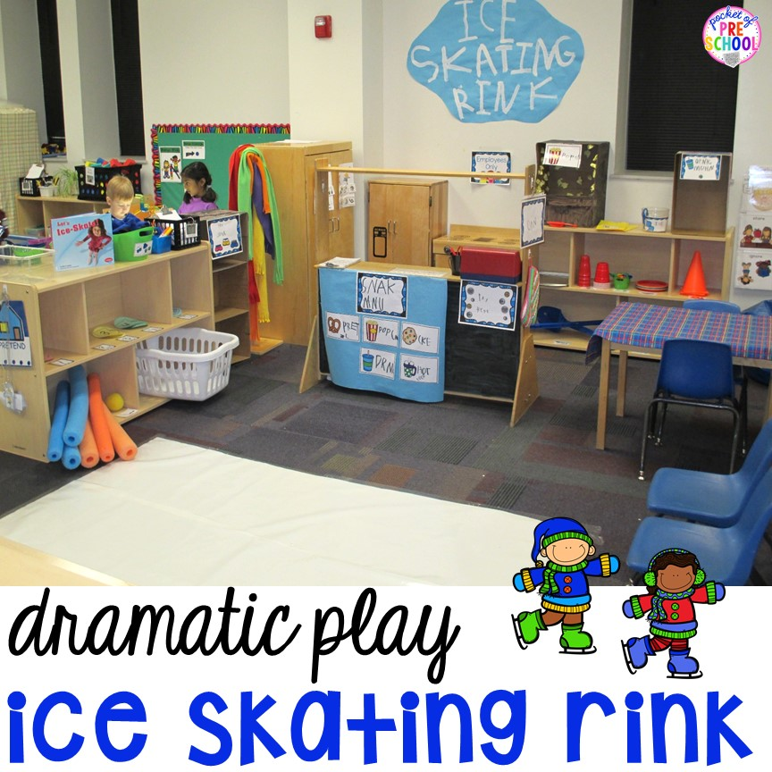 Ice Rink dramatic play for preschool, pre-k, and kindergarten.