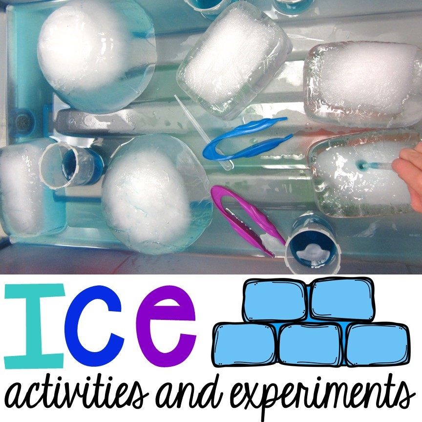 Ice experiments and activities for preschool, pre-k, and kindergarten.