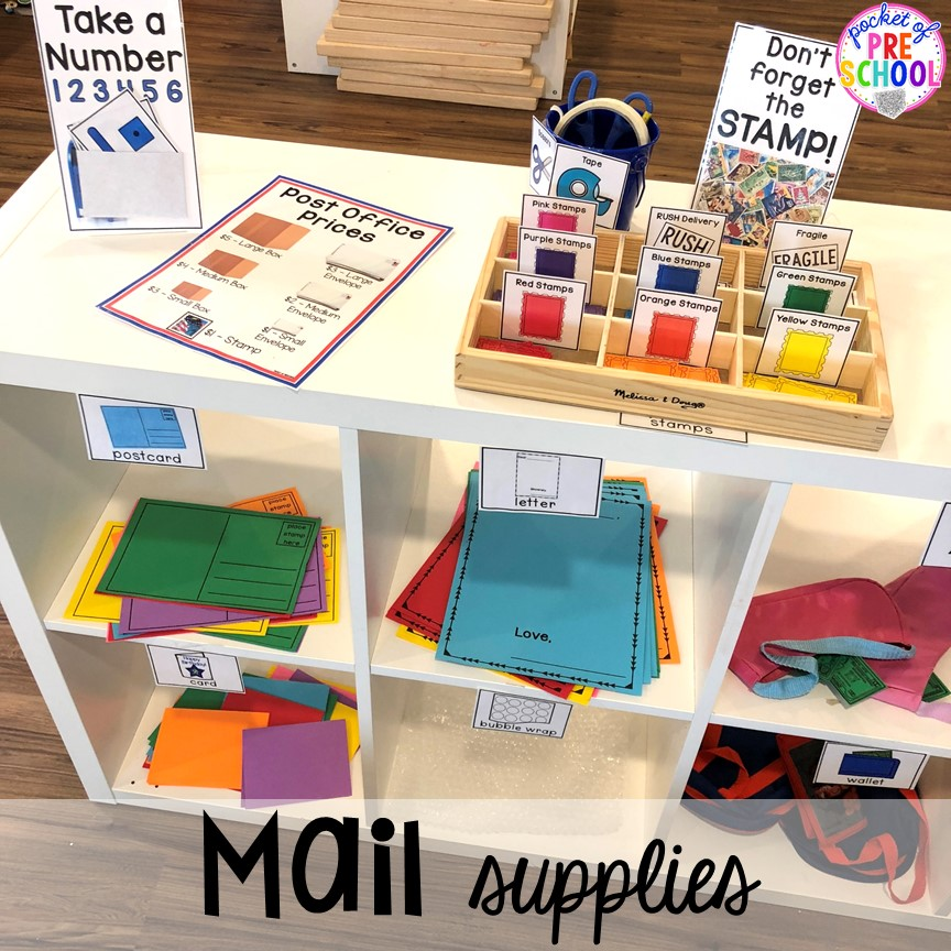Mail supplies for the Post Office! How to set up a Post Office in the dramatic play or pretend center. Perfect for a preschool, pre-k, or kindergarten classroom.