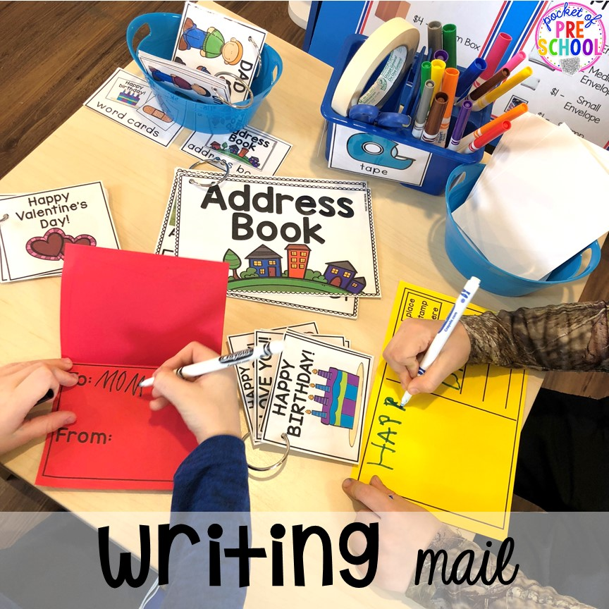 Writing mail at the post office! How to set up a Post Office in the dramatic play or pretend center. Perfect for a preschool, pre-k, or kindergarten classroom.