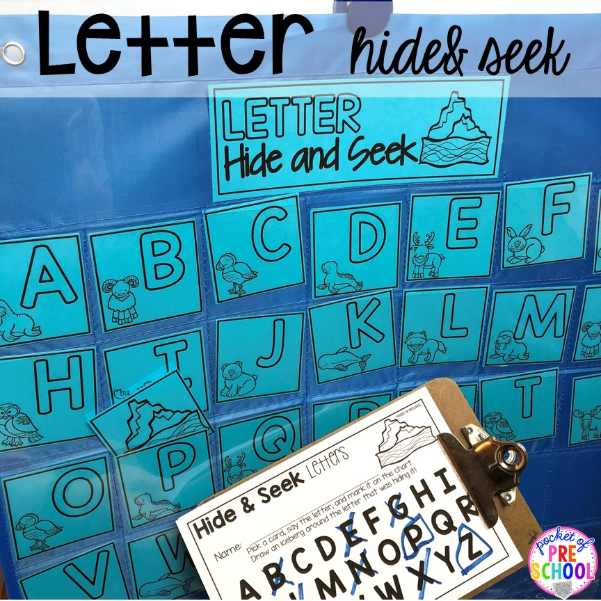 Letter hide and seek! Polar animal themed activities and centers for preschool, pre-k, and kindergarten. #polaranimals #polaranimaltheme #preschool #prek