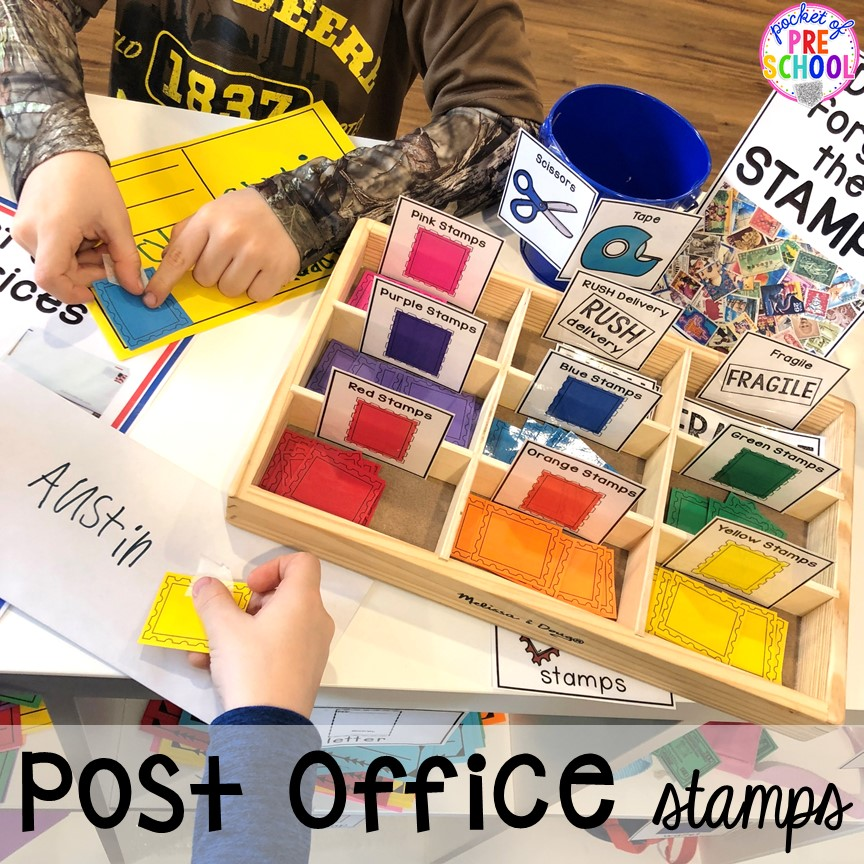 Color stamps for the Post Office in dramatic play! How to set up a Post Office in the dramatic play or pretend center. Perfect for a preschool, pre-k, or kindergarten classroom.