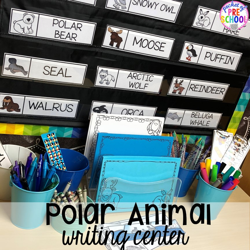 Polar animal writing center! Polar animal themed activities and centers for preschool, pre-k, and kindergarten. #polaranimals #polaranimaltheme #preschool #prek