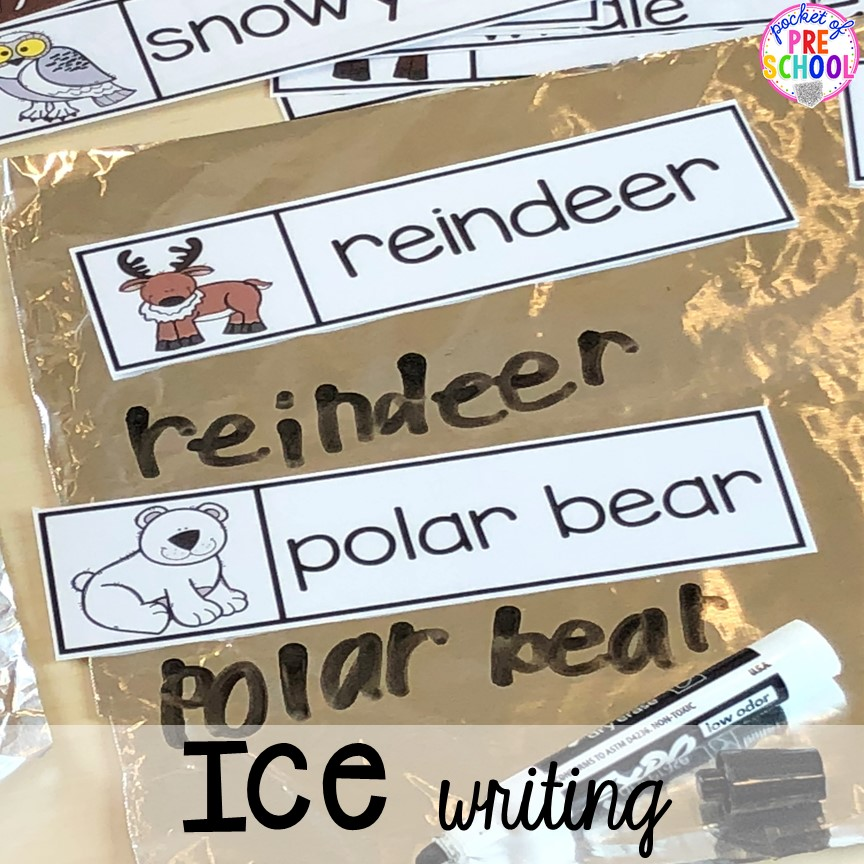 """Ice writing"" for a polar animal theme! Polar animal themed activities and centers for preschool, pre-k, and kindergarten. #polaranimals #polaranimaltheme #preschool #prek"