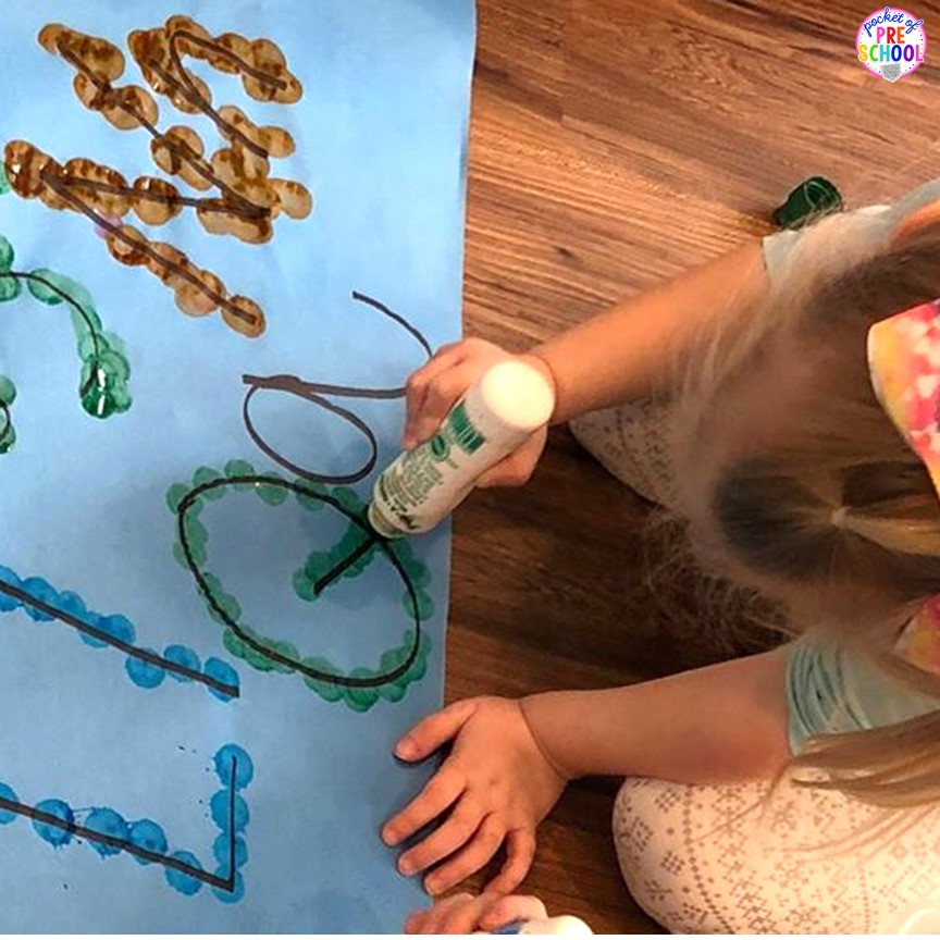 Giant letter dot it game - fun for center time, small group, or inside recess. Try it with numbers, shapes, or sight words. Perfect for preschool, pre-k, and kindergarten.