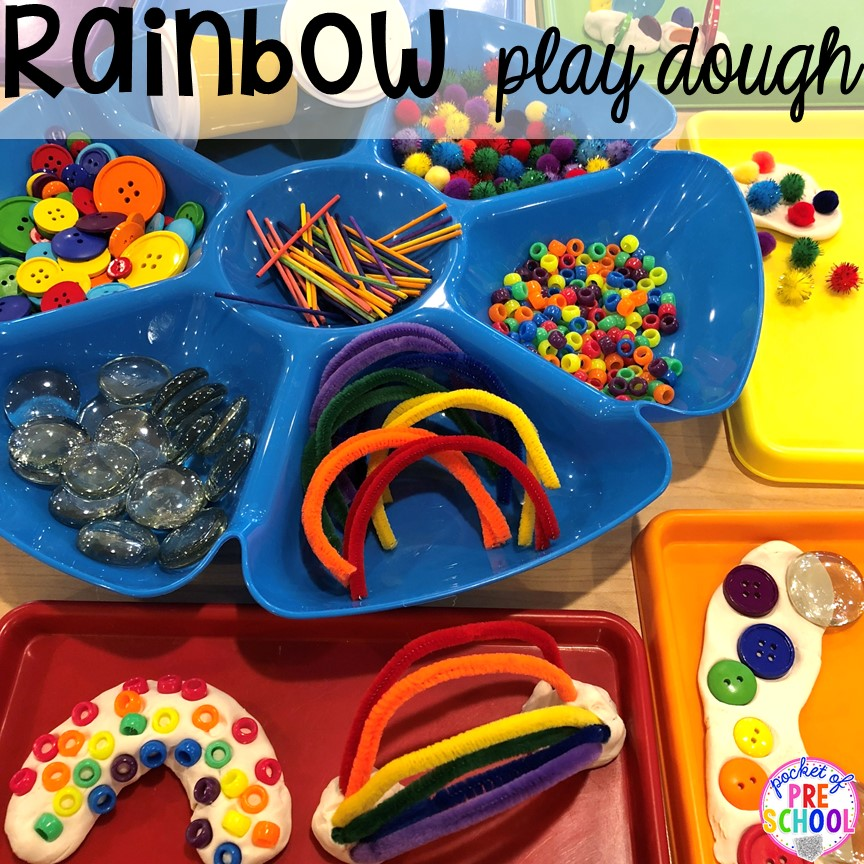 Rainbow play dough tray! All our favorite weather themed activities (literacy, math, STEM, science, sensory, fine motor). Designed for preschool, pre-k, and kindergarten kiddos. #weathertheme #preschool #prek #kindergarten
