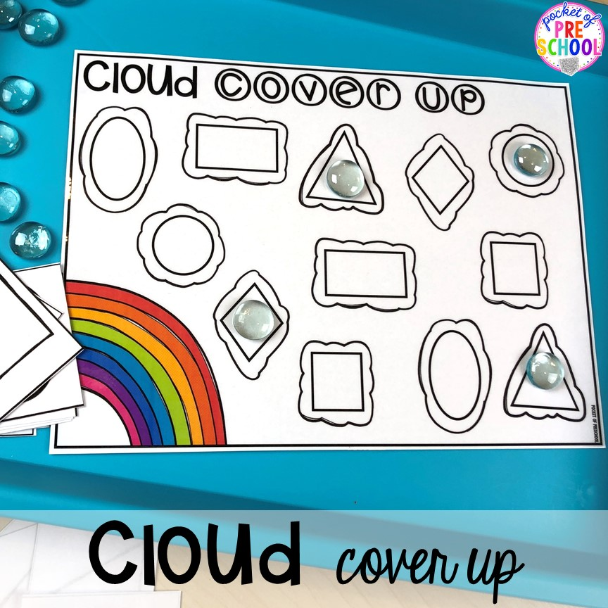 Cloud shape cover up! All our favorite weather themed activities (literacy, math, STEM, science, sensory, fine motor). Designed for preschool, pre-k, and kindergarten kiddos. #weathertheme #preschool #prek #kindergarten
