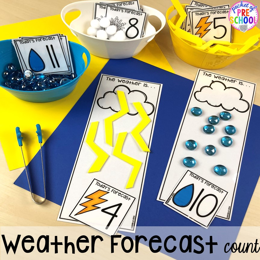 Weather forecast count! All our favorite weather themed activities (literacy, math, STEM, science, sensory, fine motor). Designed for preschool, pre-k, and kindergarten kiddos. #weathertheme #preschool #prek #kindergarten