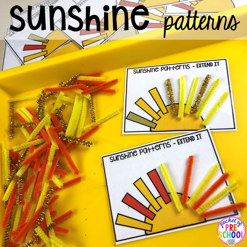 Sunshine patterns! All our favorite weather themed activities (literacy, math, STEM, science, sensory, fine motor). Designed for preschool, pre-k, and kindergarten kiddos. #weathertheme #preschool #prek #kindergarten