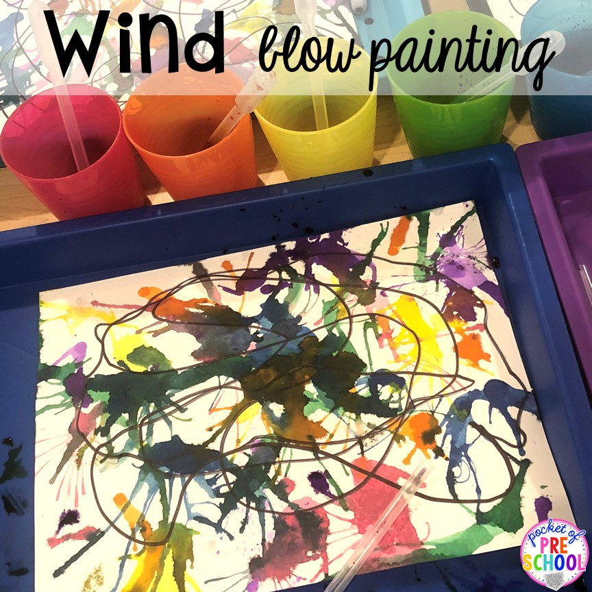 Wind blow painting! All our favorite weather themed activities (literacy, math, STEM, science, sensory, fine motor). Designed for preschool, pre-k, and kindergarten kiddos. #weathertheme #preschool #prek #kindergarten