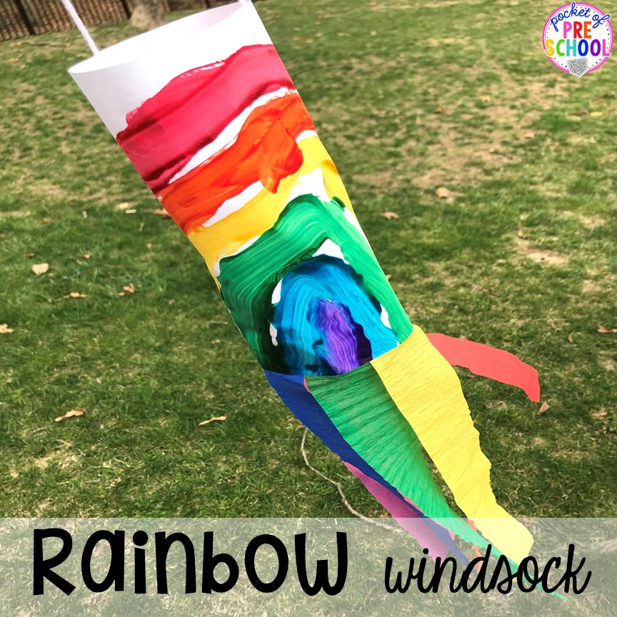 Rainbow windsocks! All our favorite weather themed activities (literacy, math, STEM, science, sensory, fine motor). Designed for preschool, pre-k, and kindergarten kiddos. #weathertheme #preschool #prek #kindergarten