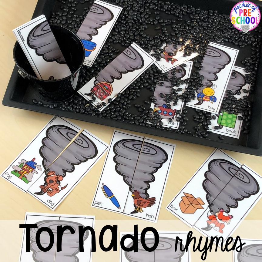 Tornado rhyme game! All our favorite weather themed activities (literacy, math, STEM, science, sensory, fine motor). Designed for preschool, pre-k, and kindergarten kiddos. #weathertheme #preschool #prek #kindergarten
