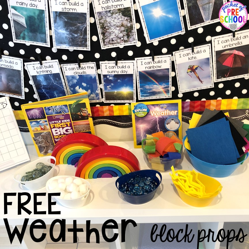 FREE Weather themed STEM I Can Build Challenges for the science, STEM, or blocks center. #STEM #blockscenter #preschool #prek #kindergarten