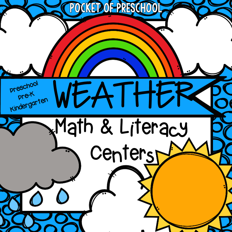 Engaging math and literacy weather themed activities. Designed for preschool, pre-k, and kindergarten kiddos. #weathertheme #preschool #prek #kindergarten