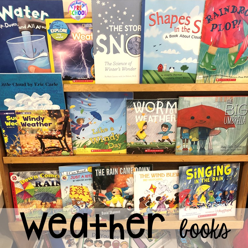 Weather books! All our favorite weather themed activities (literacy, math, STEM, science, sensory, fine motor). Designed for preschool, pre-k, and kindergarten kiddos. #weathertheme #preschool #prek #kindergarten