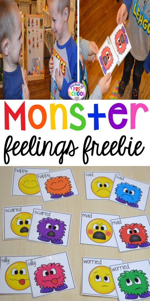 FREE feeling cards! Monster feelings game for preschool, pre-k, and kindergarten. #feelingtheme #socialskills #preschool #prek #kindergarten