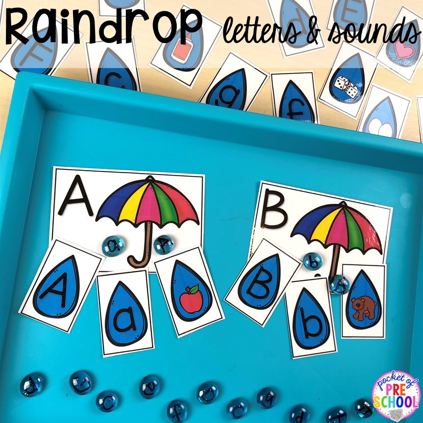 Raindrop letters and sounds game! All our favorite weather themed activities (literacy, math, STEM, science, sensory, fine motor). Designed for preschool, pre-k, and kindergarten kiddos. #weathertheme #preschool #prek #kindergarten