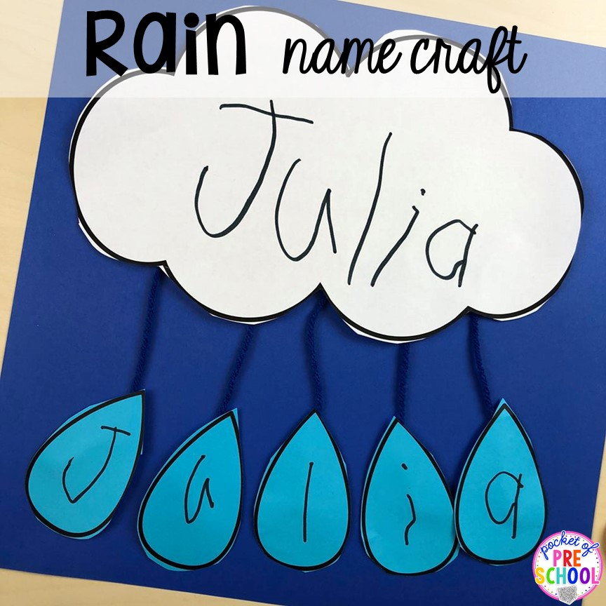Rain name craft! All our favorite weather themed activities (literacy, math, STEM, science, sensory, fine motor). Designed for preschool, pre-k, and kindergarten kiddos. #weathertheme #preschool #prek #kindergarten