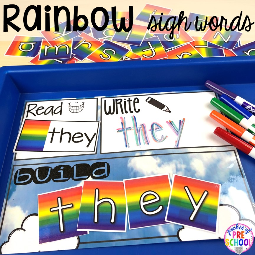 Rainbow sight words! All our favorite weather themed activities (literacy, math, STEM, science, sensory, fine motor). Designed for preschool, pre-k, and kindergarten kiddos. #weathertheme #preschool #prek #kindergarten