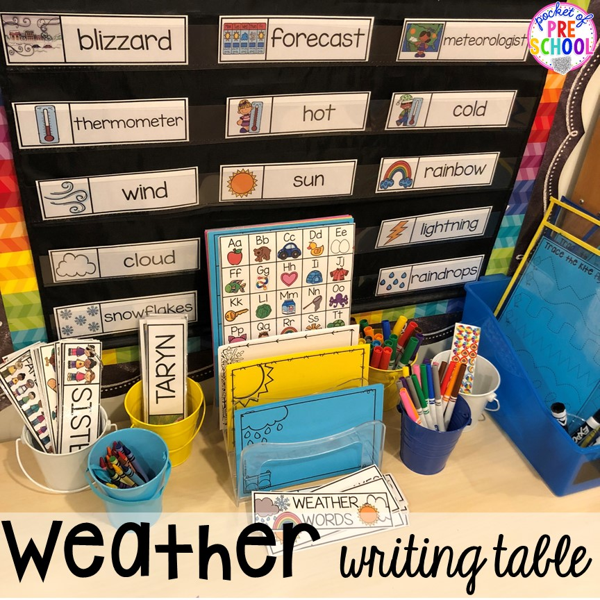 Weather themed writing table! All our favorite weather themed activities (literacy, math, STEM, science, sensory, fine motor). Designed for preschool, pre-k, and kindergarten kiddos. #weathertheme #preschool #prek #kindergarten