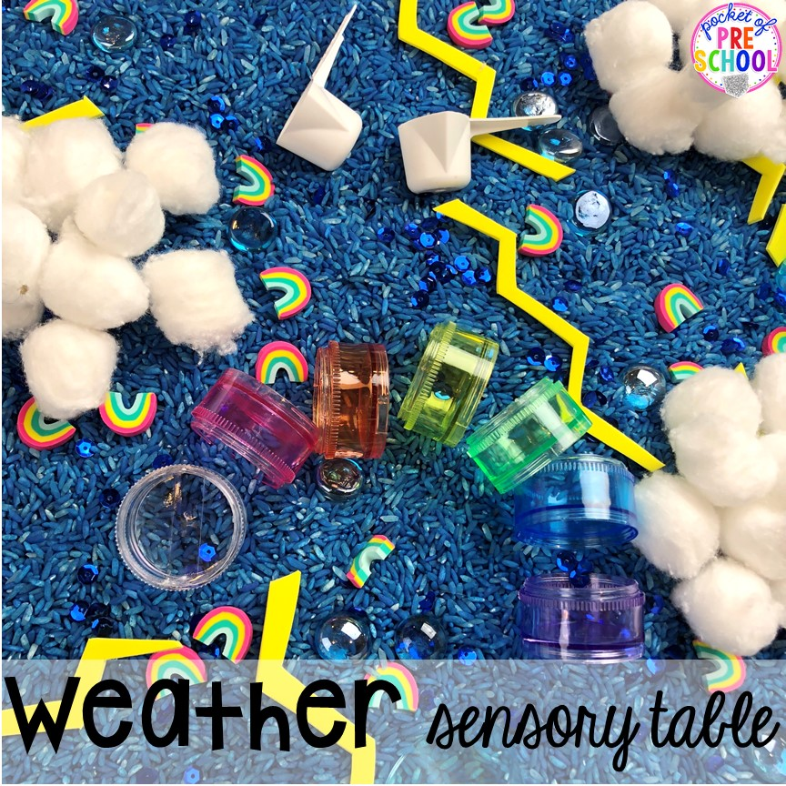 Weather sensory table! All our favorite weather themed activities (literacy, math, STEM, science, sensory, fine motor). Designed for preschool, pre-k, and kindergarten kiddos. #weathertheme #preschool #prek #kindergarten