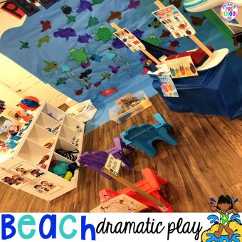 Set up a Beach in the dramatic play or pretend center and embed a ton of math, literacy, and STEM into their play! #dramaticplay #pretendplay #preschool #prek #beachtheme #oceantheme