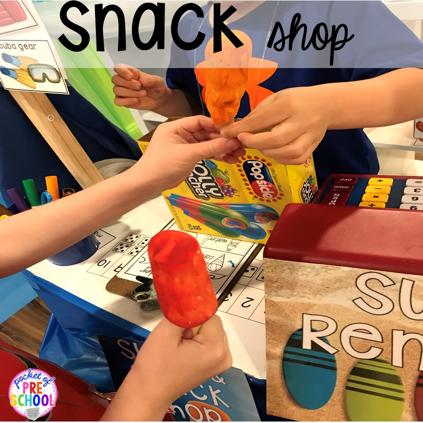Beacj snack shop! Set up a Beach in the dramatic play or pretend center and embed a ton of math, literacy, and STEM into their play! #dramaticplay #pretendplay #preschool #prek #beachtheme #oceantheme