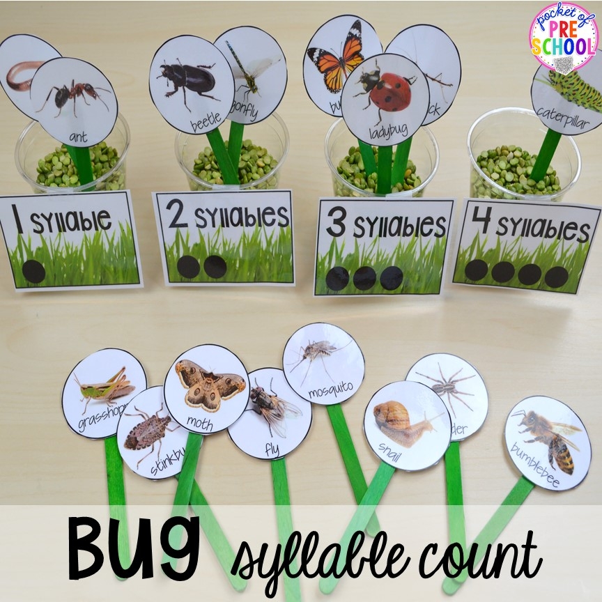 Bug syllable count! Bug themed activities and centers for preschool, and kindergarten (freebies too)! Perfect for spring, summer, or fall! #bugtheme #insecttheme #preschool #prek #kindergarten