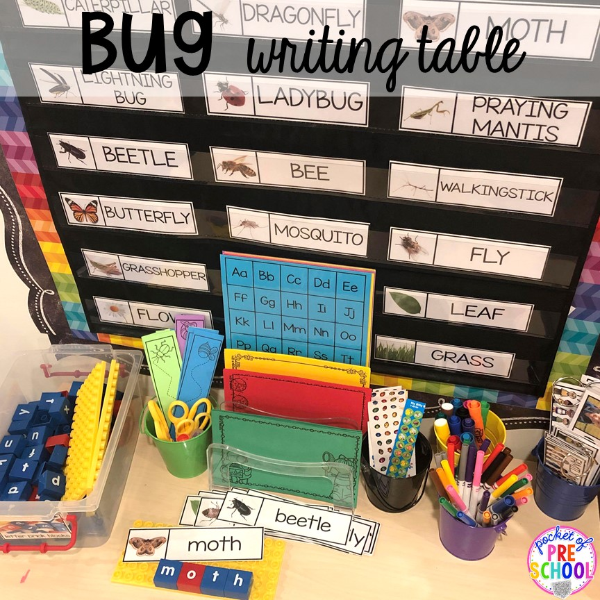 Bug writing table! Bug themed activities and centers for preschool, and kindergarten (freebies too)! Perfect for spring, summer, or fall! #bugtheme #insecttheme #preschool #prek #kindergarten