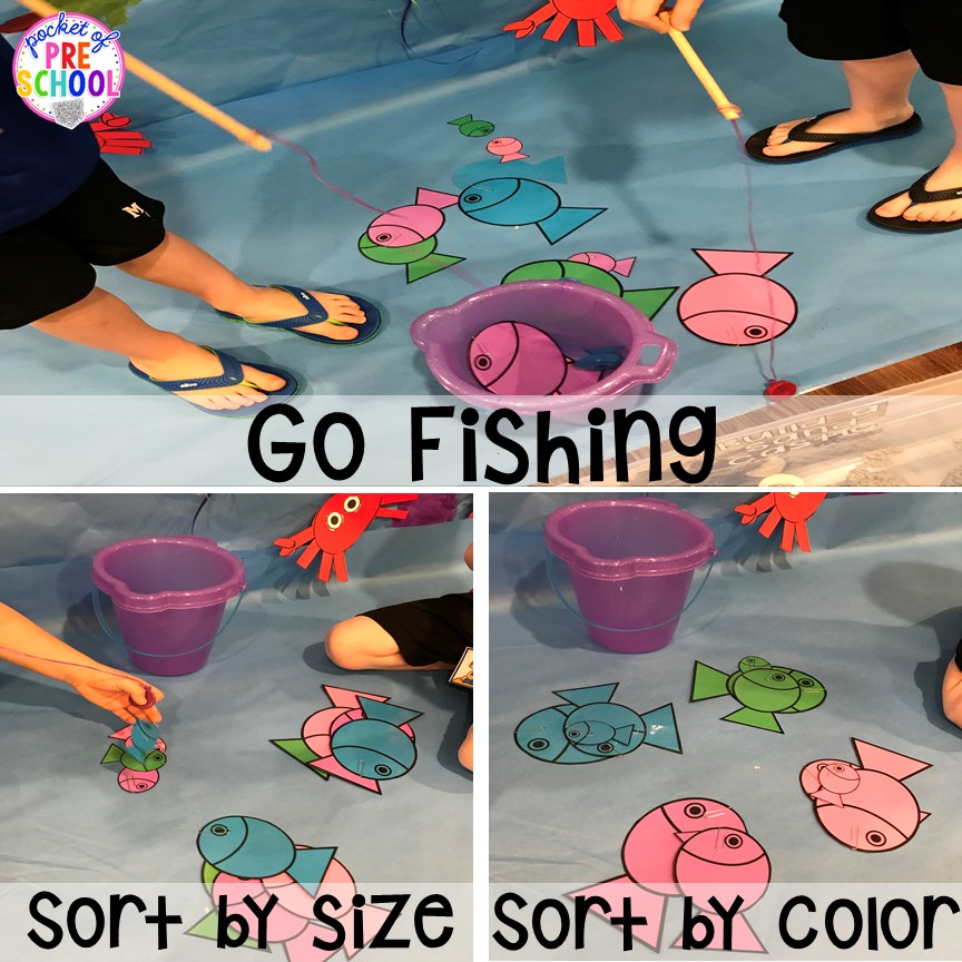 Fishing at the beach. Set up a Beach in the dramatic play or pretend center and embed a ton of math, literacy, and STEM into their play! #dramaticplay #pretendplay #preschool #prek #beachtheme #oceantheme