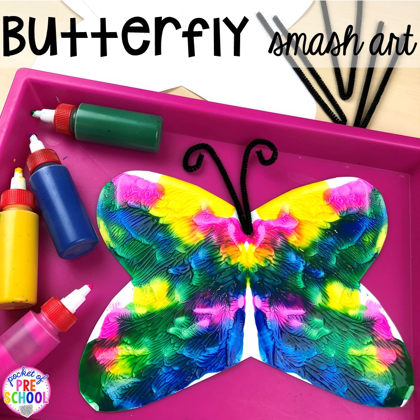 Butterfly smash symmetry art! Bug themed activities and centers for preschool, and kindergarten (freebies too)! Perfect for spring, summer, or fall! #bugtheme #insecttheme #preschool #prek #kindergarten
