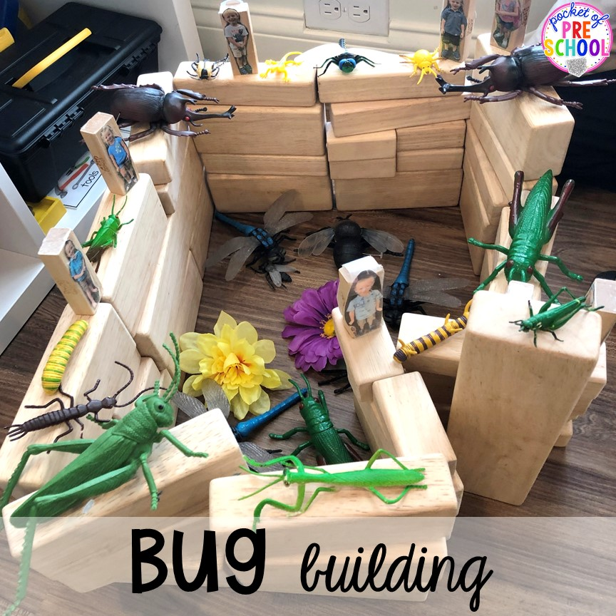 Bug blocks building! Bug themed activities and centers for preschool, and kindergarten (freebies too)! Perfect for spring, summer, or fall! #bugtheme #insecttheme #preschool #prek #kindergarten