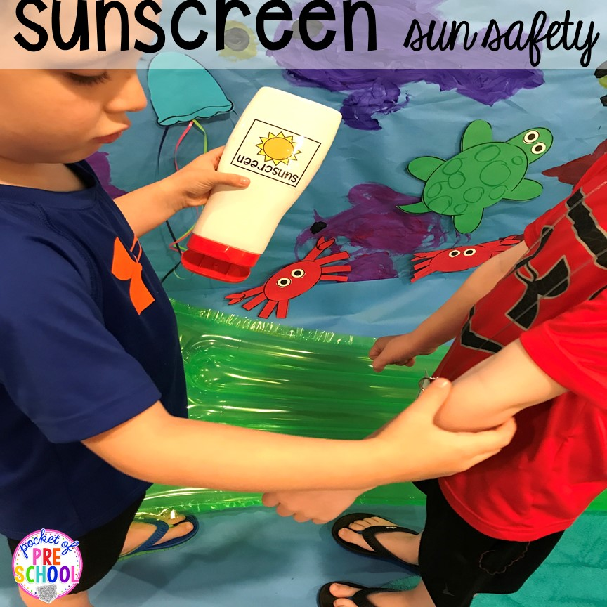 Practice sun safety! Set up a Beach in the dramatic play or pretend center and embed a ton of math, literacy, and STEM into their play! #dramaticplay #pretendplay #preschool #prek #beachtheme #oceantheme