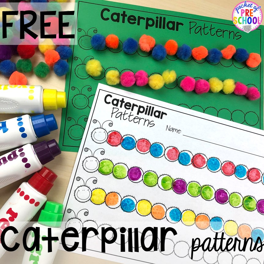 Pattern caterpillar FREEBIE! Bug themed activities and centers for preschool, and kindergarten (freebies too)! Perfect for spring, summer, or fall! #bugtheme #insecttheme #preschool #prek #kindergarten