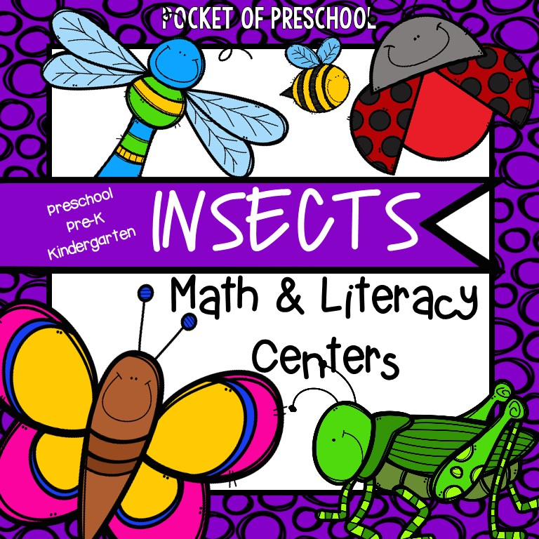 Insect Math and Literacy Centers for Preschool, PreK, and Kindergarten