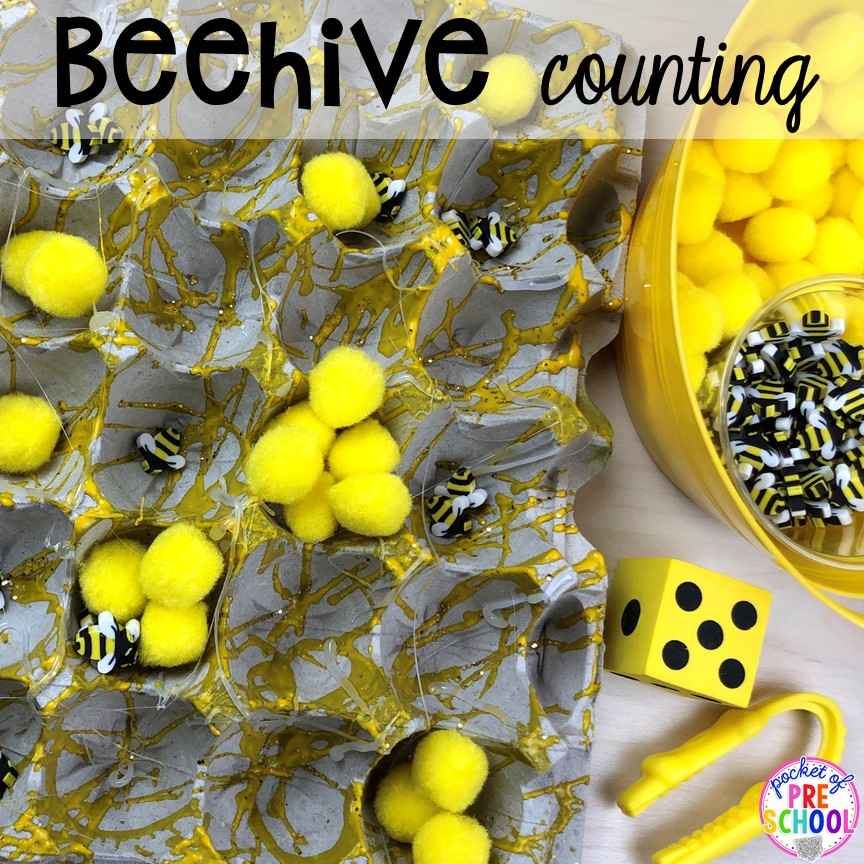 Beehive fine motor count! Bug themed activities and centers for preschool, and kindergarten (freebies too)! Perfect for spring, summer, or fall! #bugtheme #insecttheme #preschool #prek #kindergarten