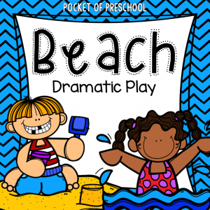Beach dramatic play for the pretend center or the dramatic play center! Everything you need to create a beach (minus the props). For preschool, pre-k, and kindergarten
