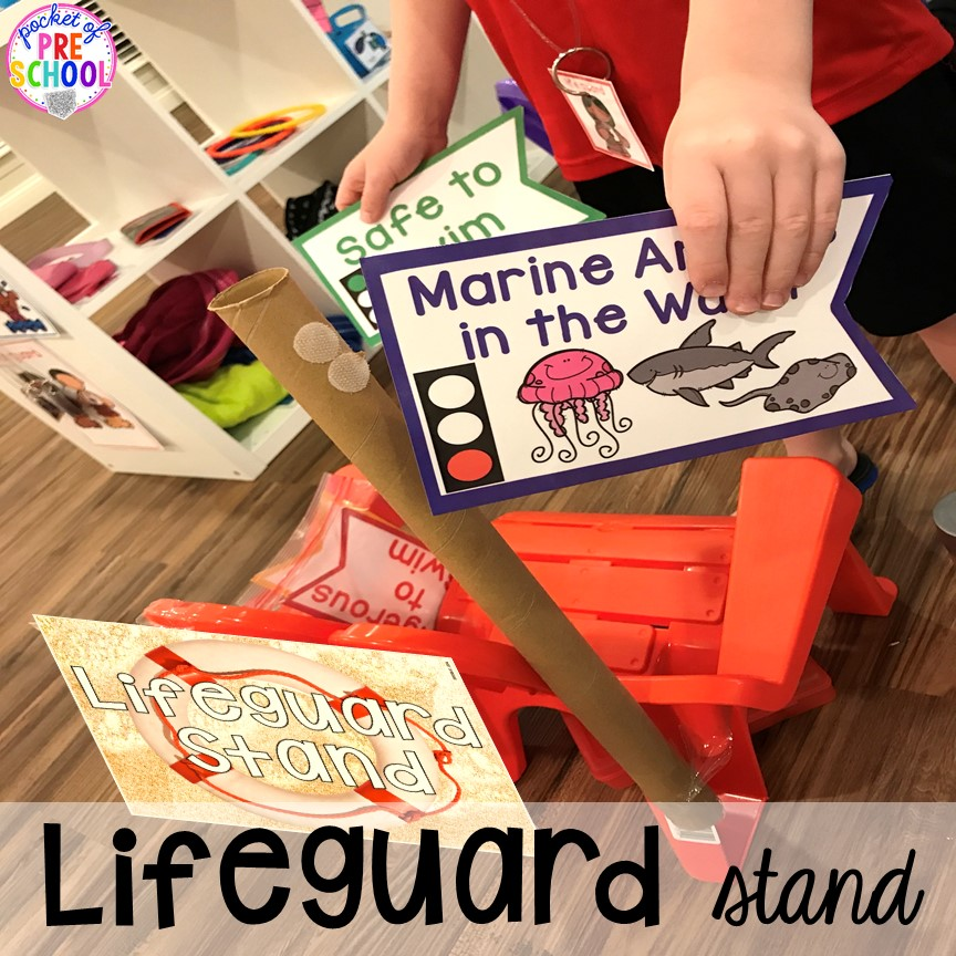 Lifeguard stand! Set up a Beach in the dramatic play or pretend center and embed a ton of math, literacy, and STEM into their play! #dramaticplay #pretendplay #preschool #prek #beachtheme #oceantheme