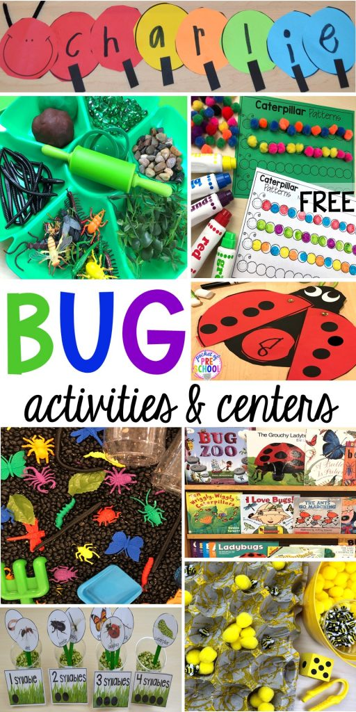 Bug themed activities and centers for preschool, and kindergarten (freebies too)! Perfect for spring, summer, or fall! #bugtheme #insecttheme #preschool #prek #kindergarten