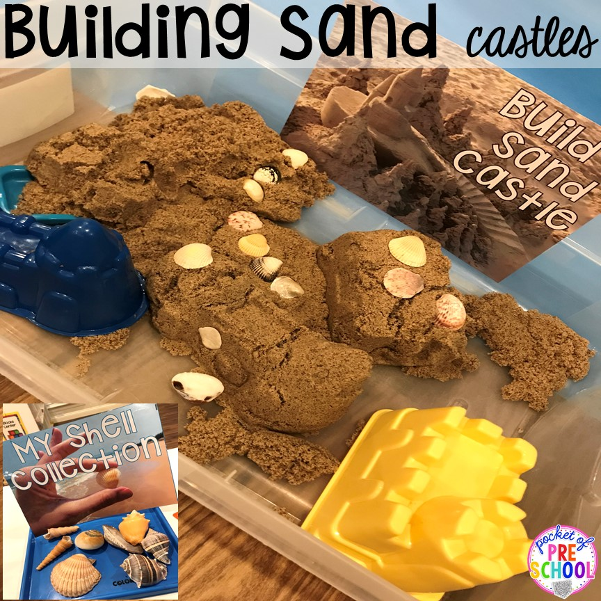 Build sand castles at the beach. Set up a Beach in the dramatic play or pretend center and embed a ton of math, literacy, and STEM into their play! #dramaticplay #pretendplay #preschool #prek #beachtheme #oceantheme