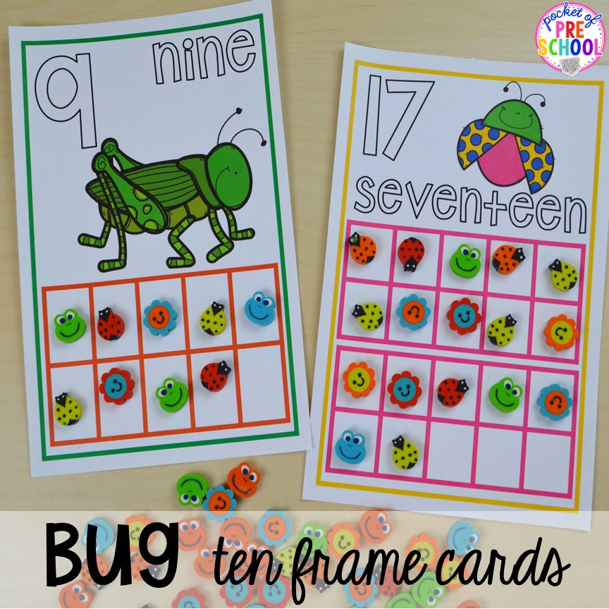 Bug ten frame mats! Bug themed activities and centers for preschool, and kindergarten (freebies too)! Perfect for spring, summer, or fall! #bugtheme #insecttheme #preschool #prek #kindergarten