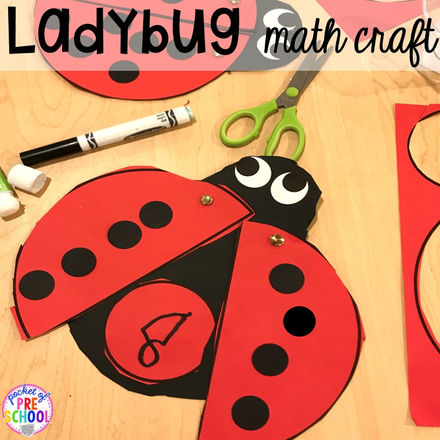 Ladybug math craft! Bug themed activities and centers for preschool, and kindergarten (freebies too)! Perfect for spring, summer, or fall! #bugtheme #insecttheme #preschool #prek #kindergarten