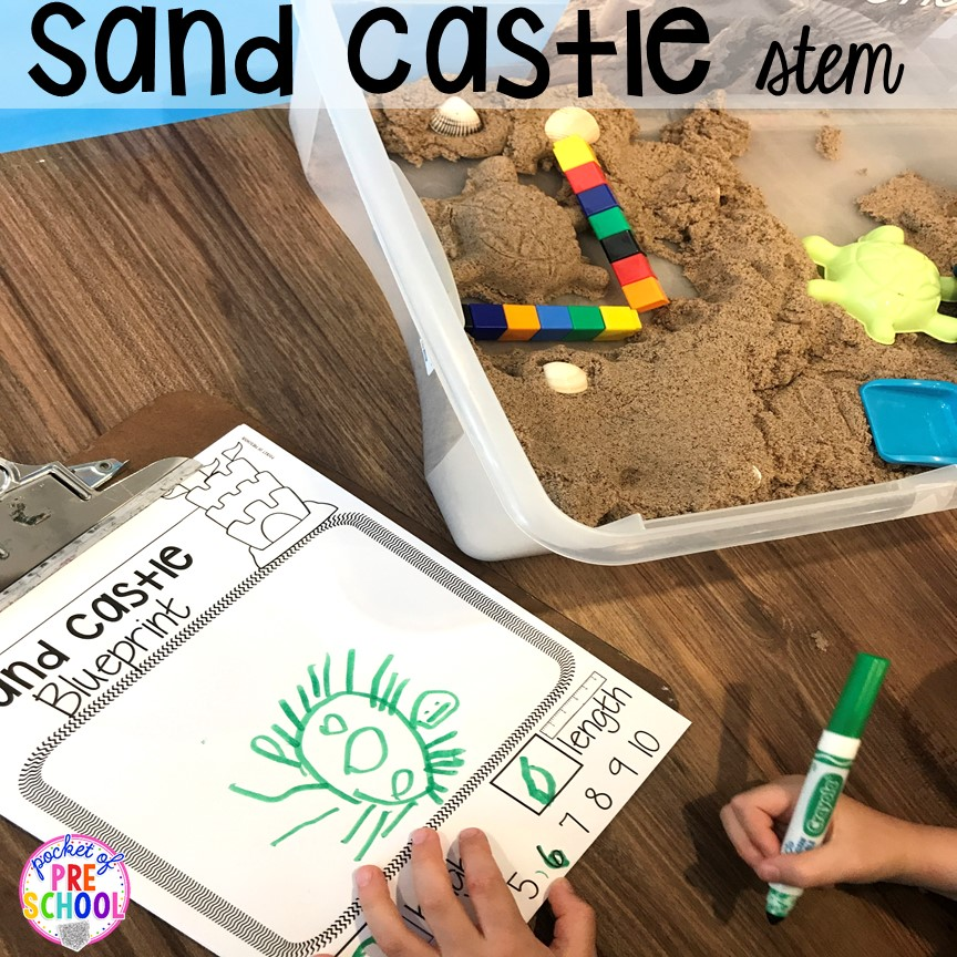 Sand Castle STEM. Set up a Beach in the dramatic play or pretend center and embed a ton of math, literacy, and STEM into their play! #dramaticplay #pretendplay #preschool #prek #beachtheme #oceantheme