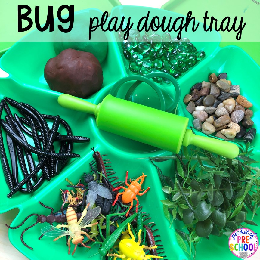 Bug play dough tray! Bug themed activities and centers for preschool, and kindergarten (freebies too)! Perfect for spring, summer, or fall! #bugtheme #insecttheme #preschool #prek #kindergarten