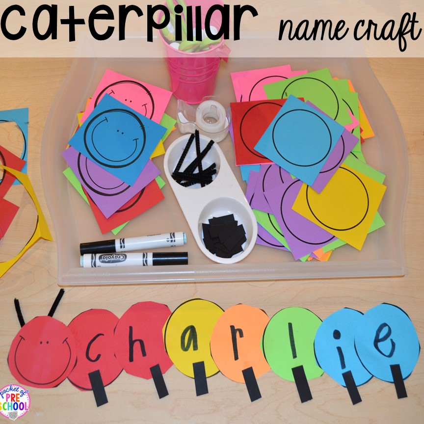 Caterpillar name craft! Bug themed activities and centers for preschool, and kindergarten (freebies too)! Perfect for spring, summer, or fall! #bugtheme #insecttheme #preschool #prek #kindergarten