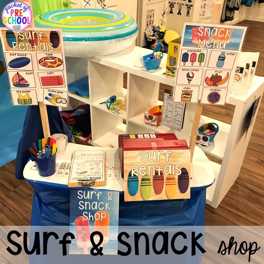 Pretend snack and surf shop! Set up a Beach in the dramatic play or pretend center and embed a ton of math, literacy, and STEM into their play! #dramaticplay #pretendplay #preschool #prek #beachtheme #oceantheme
