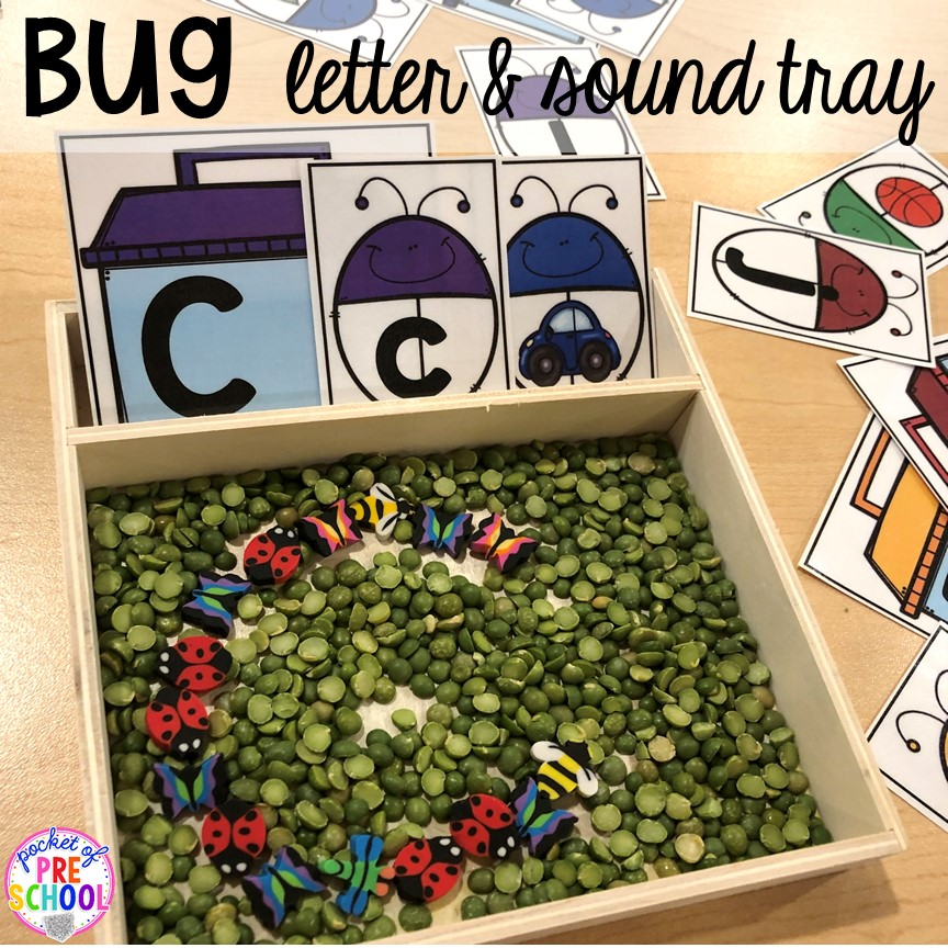 Bug letter and sound writing tray! Bug themed activities and centers for preschool, and kindergarten (freebies too)! Perfect for spring, summer, or fall! #bugtheme #insecttheme #preschool #prek #kindergarten
