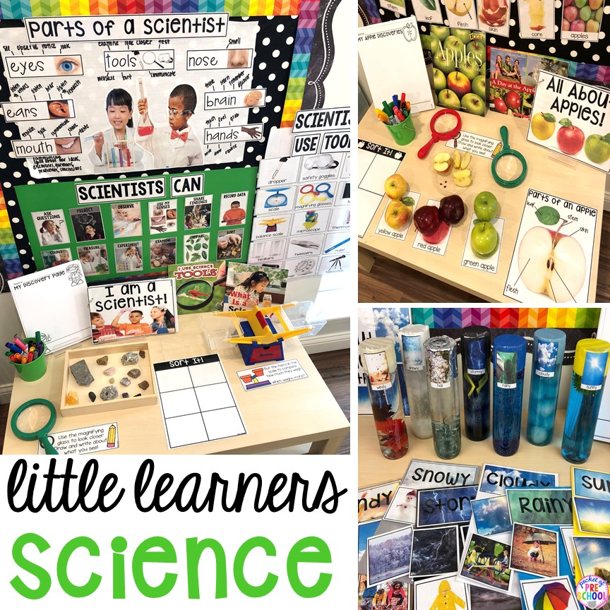 Tons of ideas for the science center and science table in a preschool, pre-k, and kindergarten classroom. #preschoolscience #sciencecenter #prekscience #kindergartenscience