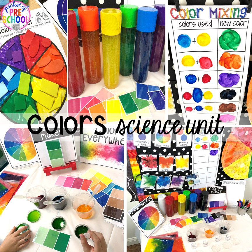 Color science unit for preschool, pre-k, and kindergarten #preschoolscience #sciencecenter #prekscience #kindergartenscience